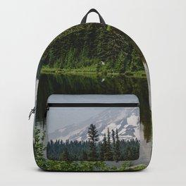 Mount Rainier Lake Reflection - Pacific Northwest Mountain Forest Wanderlust Backpack