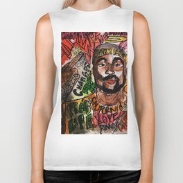 thug,rapper,rap,hiphop,music,rip,fan art,graffiti,street art,poster,colorful,lyrics,music,wall art Biker Tank