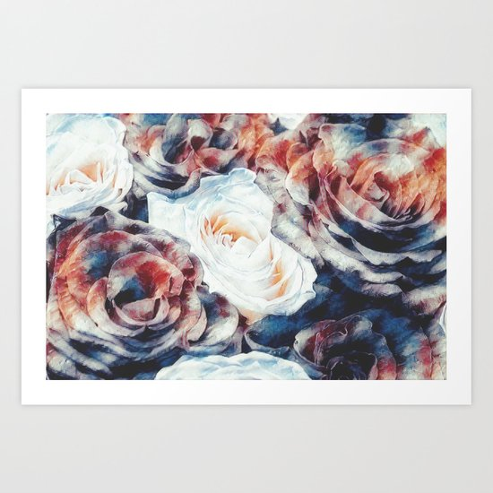 Roses print in retro drawing style watercolor digital Art Print
