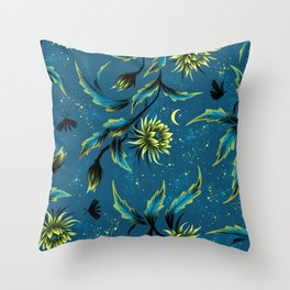 Queen of the Night - Teal Throw Pillow