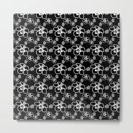 Black And White Hibiscus Hawaiian Metal Print