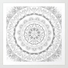 Gray Floral Damask Mandala Kunstdrucke