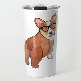 Hipster Corgi Travel Mug