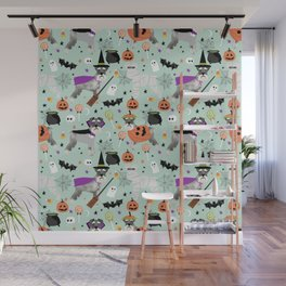 Schnauzer dog breed halloween costumes cute dog gift for fall autumn Wall Mural