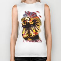 madonna Biker Tanks featuring L'invasion Madonna by RIGOLEONART