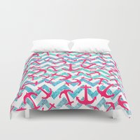 anchors Duvet Covers featuring Anchors Confusion by Girly Trend