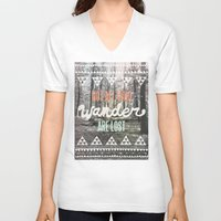 hand V-neck T-shirts featuring Wander by Wesley Bird