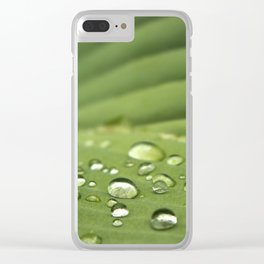 Water drops on a green leaf Clear iPhone Case