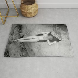 4094  Rear View B&W Nude Woman Naked Desert Feminine Classic Female Form Beautiful  Rug