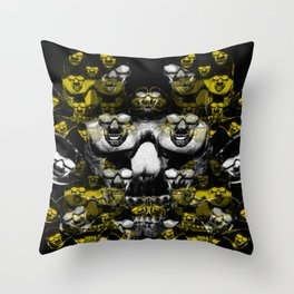 Gold and silver skulls Throw Pillow
