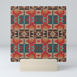 Native American Indian Tribal Mosaic Rustic Cabin Pattern Mini Art Print