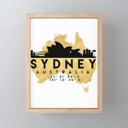 SYDNEY AUSTRALIA SILHOUETTE SKYLINE MAP ART Framed Mini Art Print