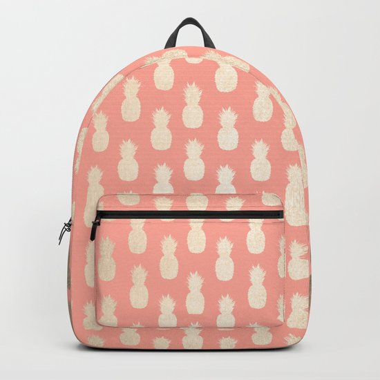 Gold Pineapples on Coral Pink Backpack