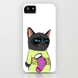 Black Cat in Christmas Sweater 10 iPhone Case