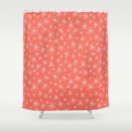 Loopy Flowers - white on coral Shower Curtain