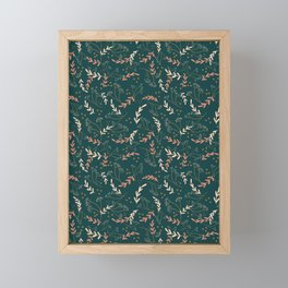 Blush Vintage Mint Deep Teal Petite Forest Wildflowers And Fern Repeat Pattern Cottagecore Decor Garden Gifts  Framed Mini Art Print