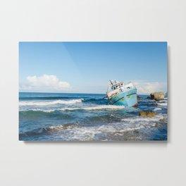 Corfu Beach with Boat Metal Print