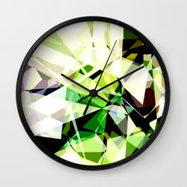 Green Glass Polygons Wall Clock