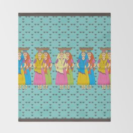 Indian Village Girls Throw Blanket