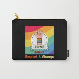LGBTQ Love Justice Respect Change Retro Fist Carry-All Pouch