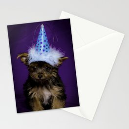 Tiny Yorkshire Terrier Puppy in a Party Hat with Purple Background Stationery Cards