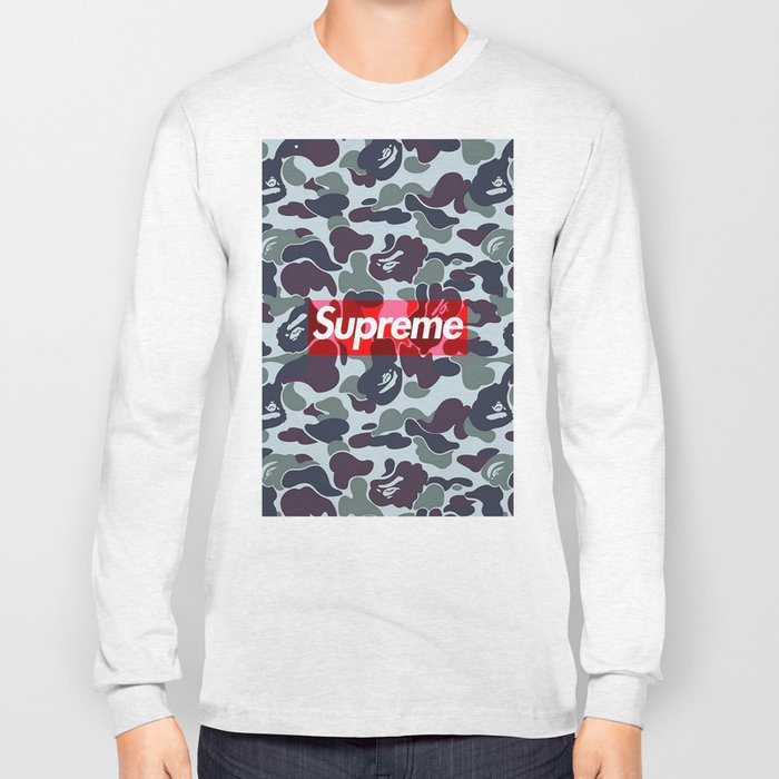 e378c7f134cd Bape Camo Supreme Wallpaper Long Sleeve T-shirt