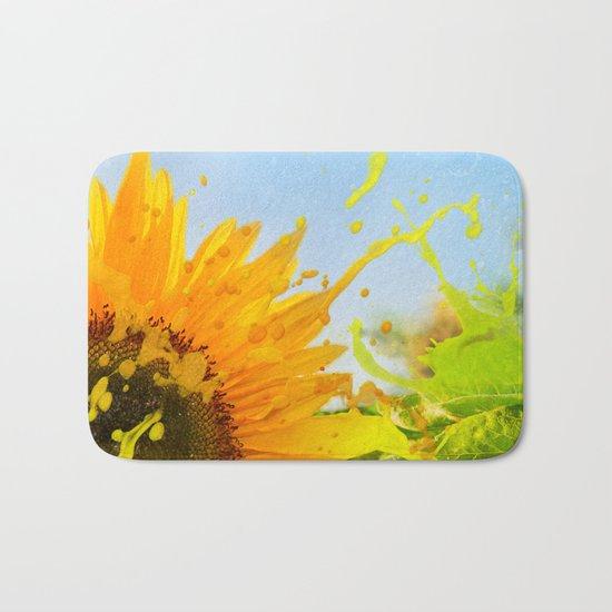 Splashing Sunflower Bath Mat