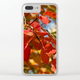 Flaming Foliage Clear iPhone Case