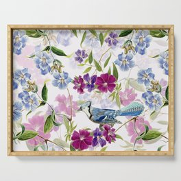 Vintage & Shabby Chic - Blue Jay and Flowers Garden Serving Tray
