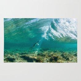 Cormoran duck dive / Passage de Cormoran sous une vague / 波の下で鵜パッセージ Rug