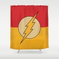 dc comics Shower Curtains featuring Flash Logo Minimalist Art Print DC Comics by The Retro Inc
