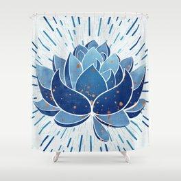 Indigo Lotus Blossom Shower Curtain