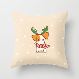 Jack Russell Terrier with Reindeer Antlers on snowy background Illustration Throw Pillow