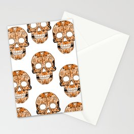 Orange Skull Pattern Stationery Cards