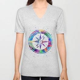 Compass Art Gift Colorful Blue Purple Art Nautical Lovers Travel Art Gifts Unisex V-Neck