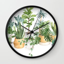 Watercolor house plants potted plants Wall Clock