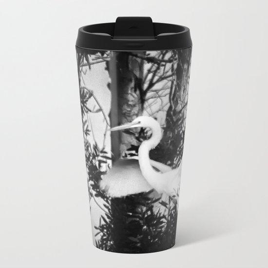 Great Egret In The Trees Metal Travel Mug
