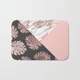 Blush Pink Rose Gold Marble Swiss Cheese Leaves Bath Mat