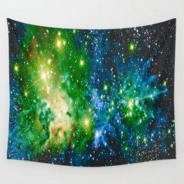 Fox Fur Nebula Teal Green Wall Tapestry