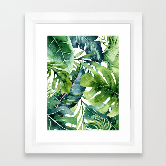 Tropical Jungle Leaves Framed Art Print