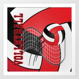 Volleyball Game Time  - Red Art Print