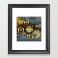 Steampunk, awesome owl Framed Art Print