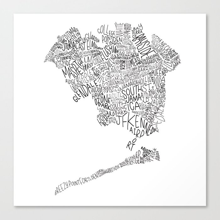 Queens - Hand Lettered Map Leinwanddruck