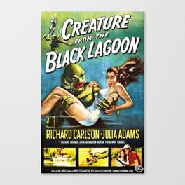 Creature from the Black Lagoon, vintage horror movie poster Canvas Print
