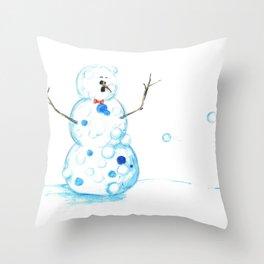 Snowman in a Snowball Fight! Throw Pillow