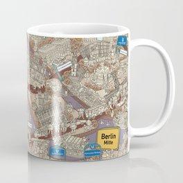Illustrated map of Berlin-Mitte. Sepia Coffee Mug