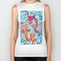 koi fish Biker Tanks featuring Koi Fish by Art by Risa Oram