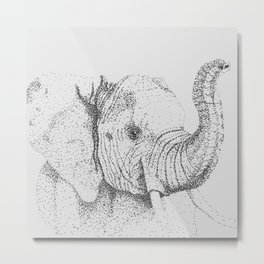 Dotted Elephant Metal Print