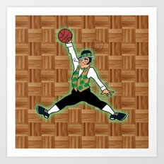Celtics Leprechaun Jumpman Art Print