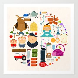 Alice in wonderland + Three Little Pigs aka ALIPIGS Art Print